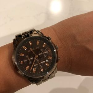 Michael Kors Dark Brown Metal Chronograph Watch